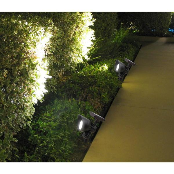 Hampton Bay Solar Black Outdoor Integrated Led 3000k Warm White 30 Lumen Landscape Spot Light Nxt 1775 The Home Depot