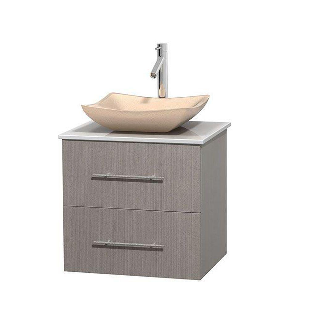 Wyndham Collection Centra 24 in. Vanity in Gray Oak with Solid-Surface Vanity Top in White and Sink