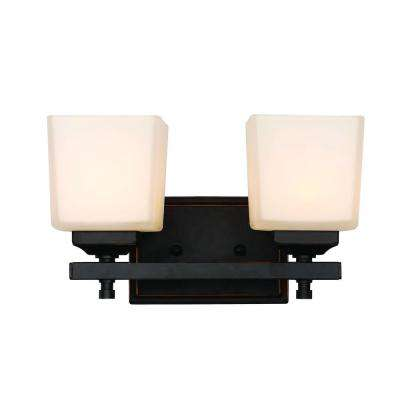 2-Light Rubbed Oil Bronze Cubed Bronze Wall Sconce