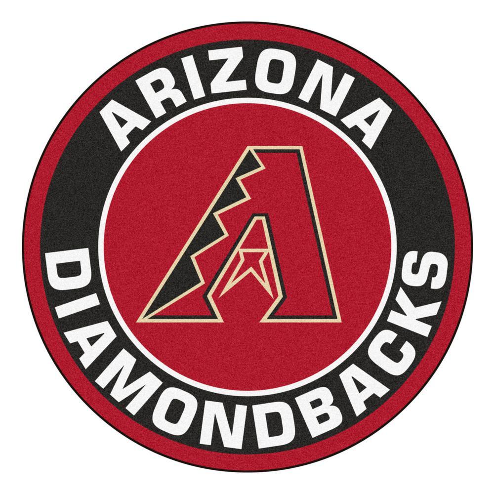 MLB Arizona Diamondbacks Black 2 ft. x 2 ft. Round Area Rug
