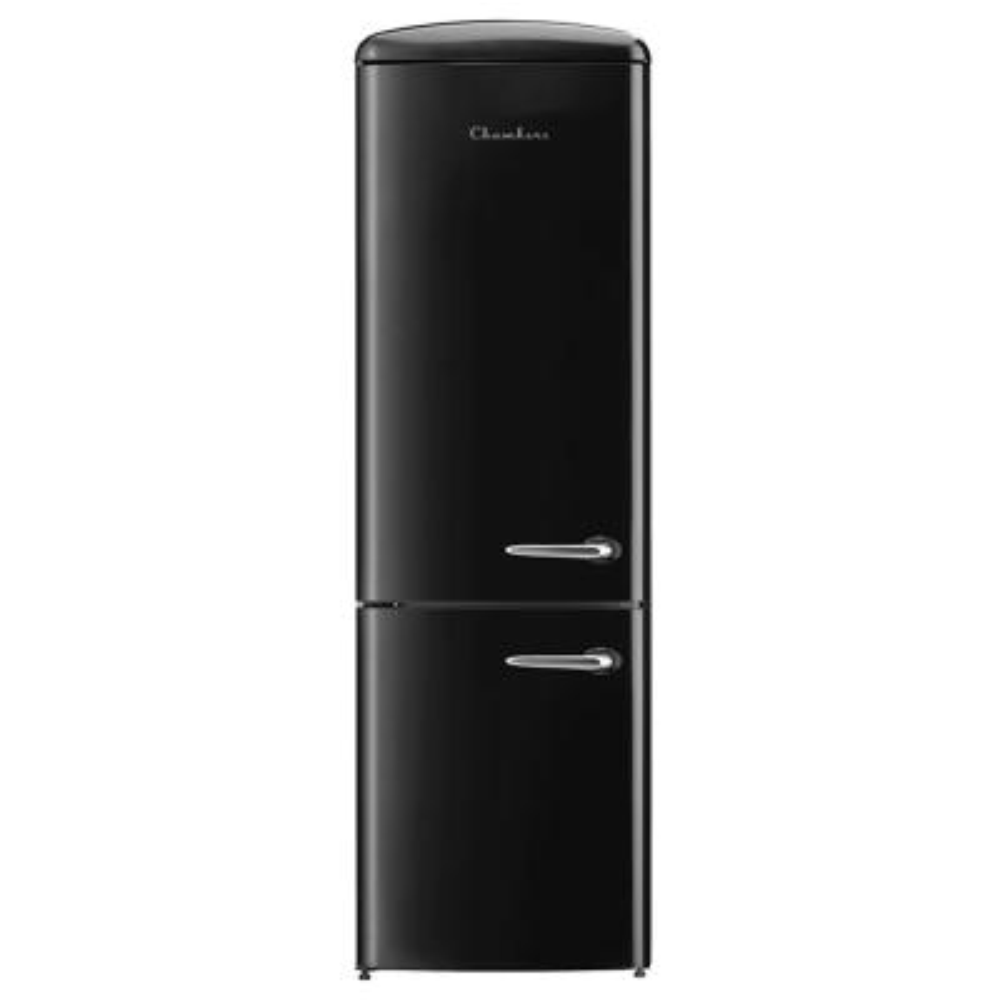 24 in. 12 cu. ft. Left Swing Retro Bottom Freezer Refrigerator in Black