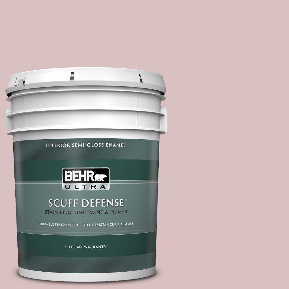 Behr Ultra 5 Gal Ppu17 08 Peony Blush Extra Durable Semi Gloss Enamel Interior Paint And Primer In One 375005 The Home Depot