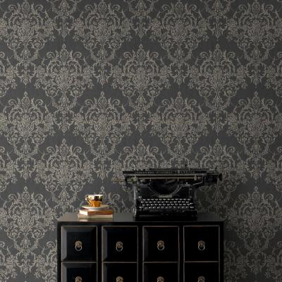 Victorian Damask Black/Gold Wallpaper Sample