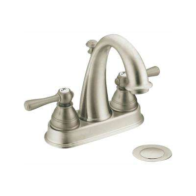 Kingsley 4 in. Centerset 2-Handle High-Arc Bathroom Faucet in Brushed Nickel with Drain Assembly