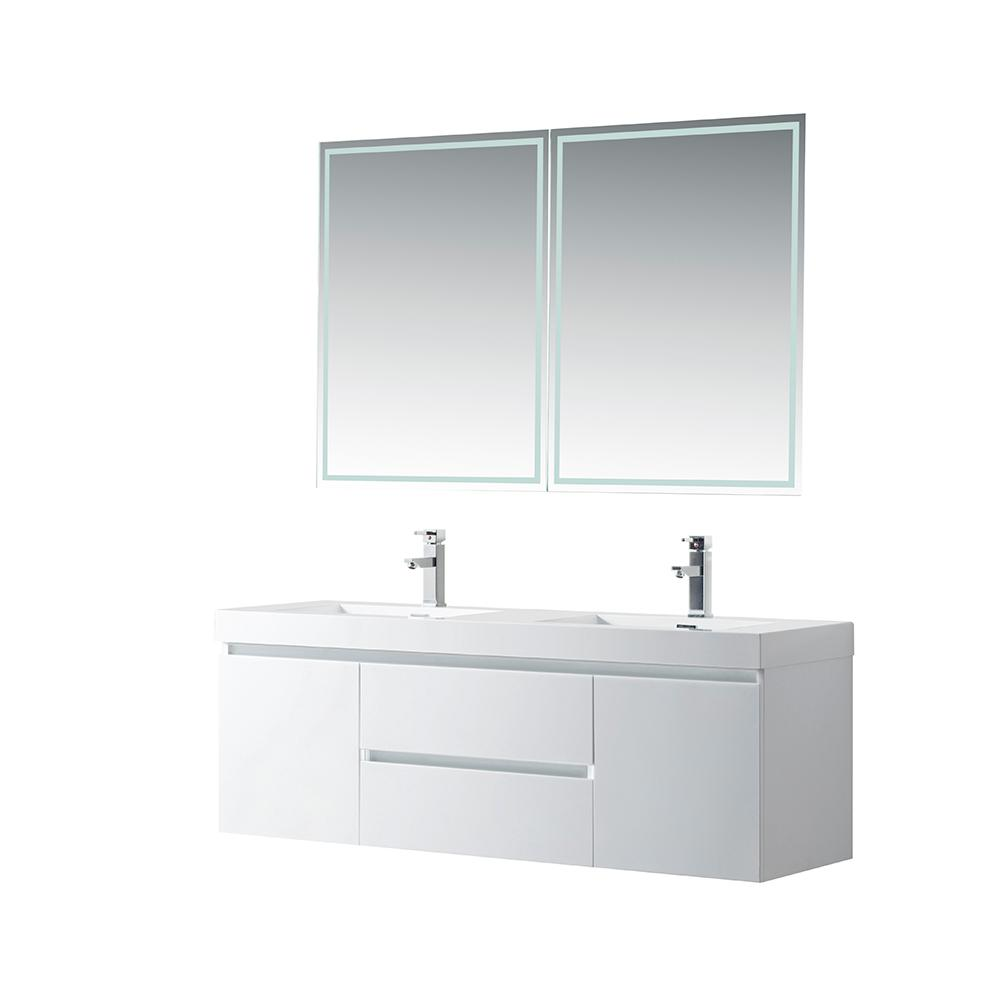 Vanity Art Annecy 60 in. W x 18.5 in. D x 20 in. H Bathroom Wall Hung Vanity in White with Double Basin Top in White Resin