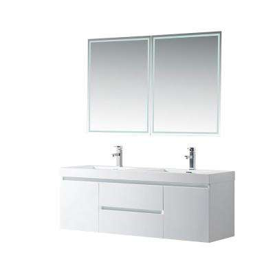 Annecy 60 in. W x 18.5 in. D x 20 in. H Bathroom Wall Hung Vanity in White with Double Basin Top in White Resin