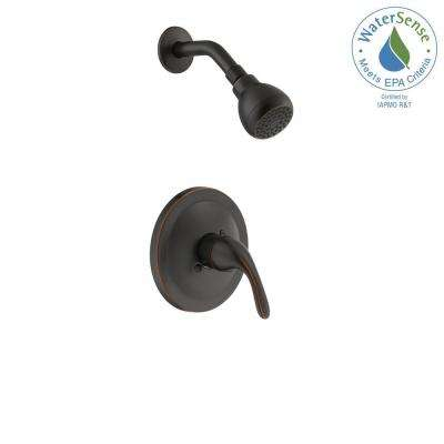 Builders Single-Handle 1-Spray Pressure Balance Shower Faucet in Bronze (Valve Included)