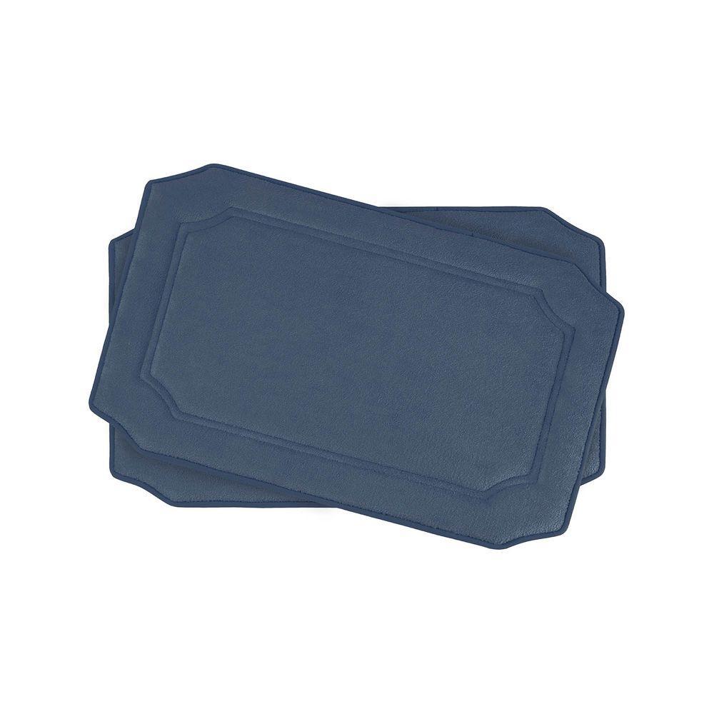 Walden Dusty Blue 17 in. x 24 in. Memory Foam 2-Piece Bath Mat Set