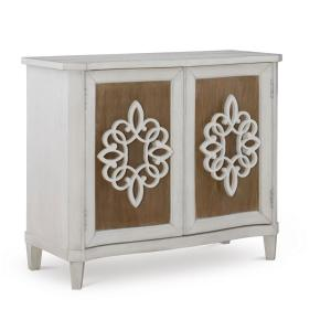 Powell Dylan White and Natural 2-Door Console Cabinet