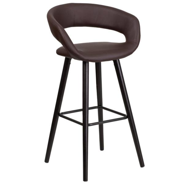 Flash Furniture 29.5 in. Brown and Cappuccino Cushioned Bar Stool CH152560BRNVY