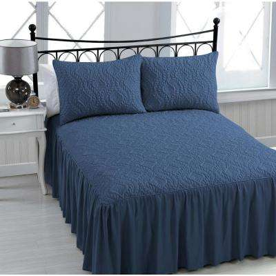 Samantha 3-Piece Navy Queen Bedspread