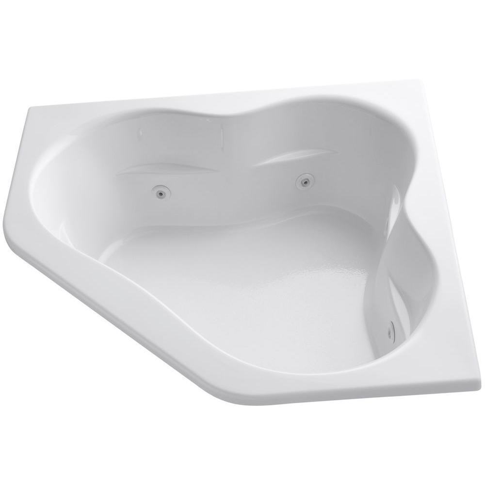 KOHLER Tercet 5 ft. Acrylic Corner Alcove Whirlpool Bathtub in White ...