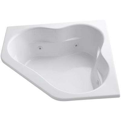 Tercet 5 ft. Acrylic Corner Alcove Whirlpool Bathtub in White