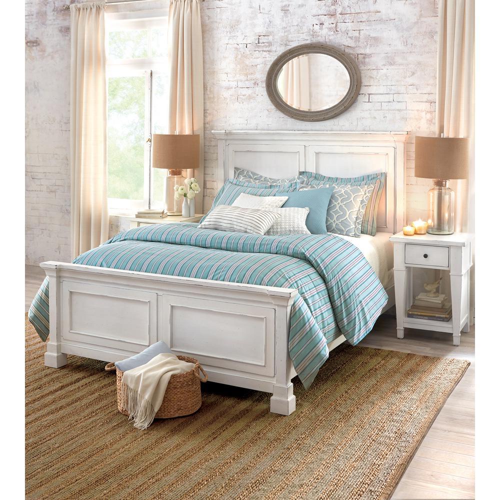 Internet #304347857. Bridgeport Antique White King Bed Frame