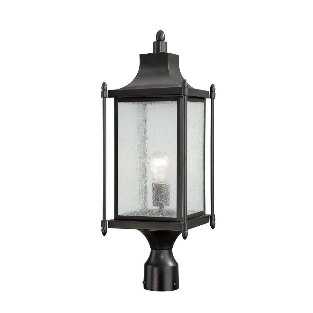 Satin Wall Mount Black Incandescent Outdoor Lantern