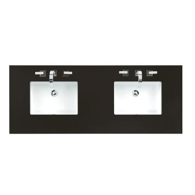 60 in. Double Basin Vanity Top in Iconic Black Silestone Quartz with White Basin