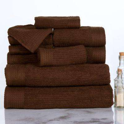10-Piece Ribbed Egyptian Cotton Towel Set in Chocolate