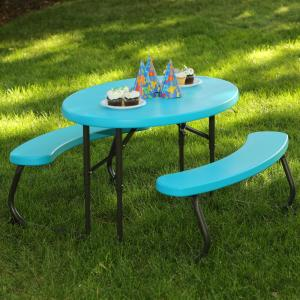 Oval 1 Piece Glacier Blue Kids Picnic Folding Table