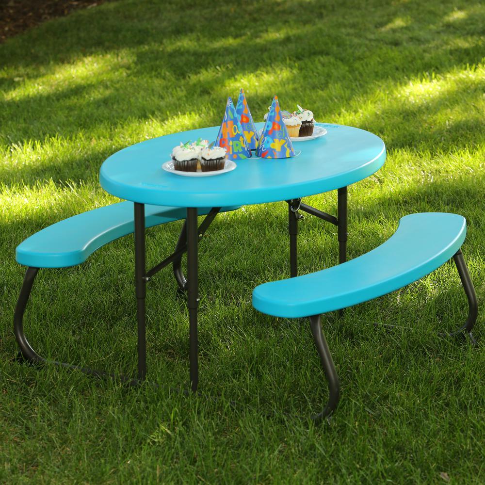 Oval 1-Piece Glacier Blue Kids Picnic Folding Table
