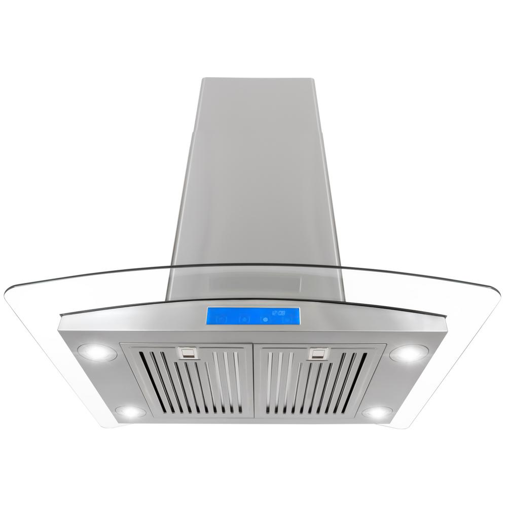 30 in. Ducted Island Range Hood in Stainless Steel with LED