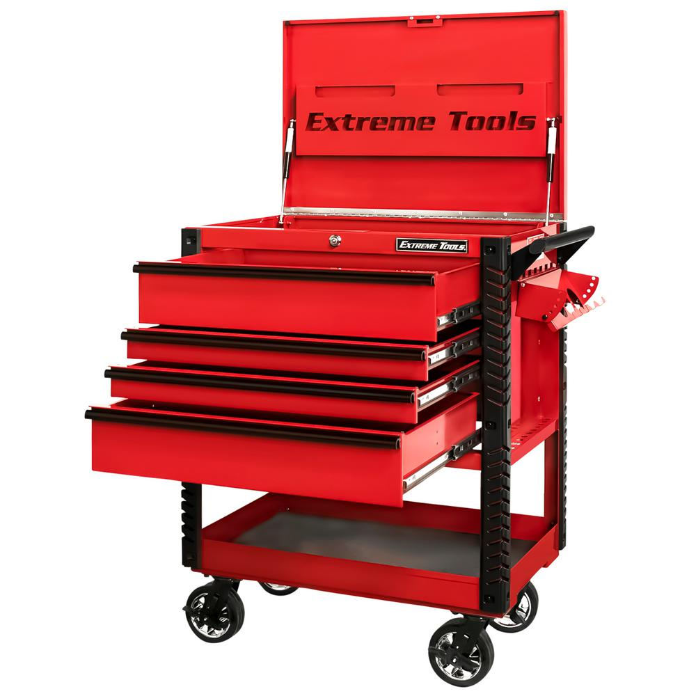 Extreme Tools Professional 33 in. Deluxe 4-Drawer Tool Utility Cart w/ Bumpers in Red