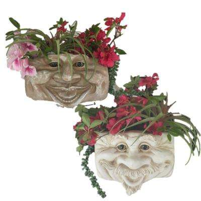 2-Piece Muggly s Uncle Nate Ant. 10.5 in. White and Aunt Minnie Stone Wash Patio Wall Resin Planter