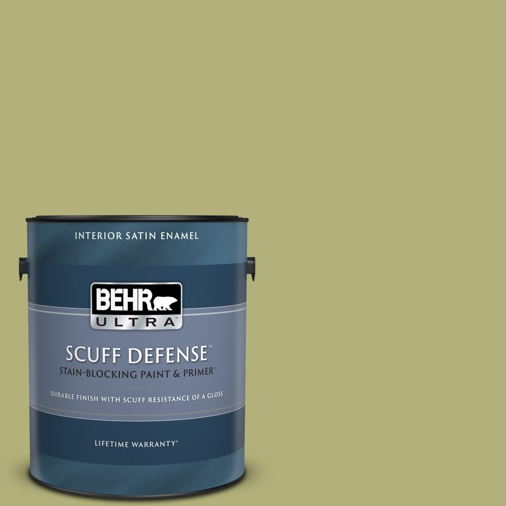 Behr Ultra 1 Gal M340 5 Fresh Artichoke Extra Durable Satin Enamel Interior Paint And Primer In One 775401 The Home Depot
