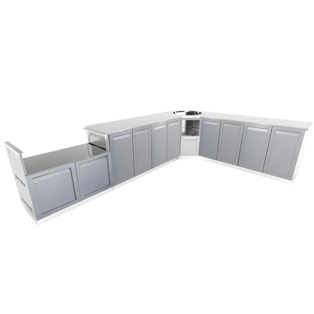 4 Life Outdoor Stainless Steel 8-Piece 207 x 37 x 37 in. Outdoor ...