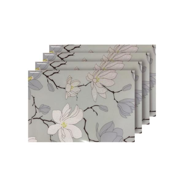 Dainty Home Magnolia Light Blue Reversible Metallic Printed Placemats (Set of