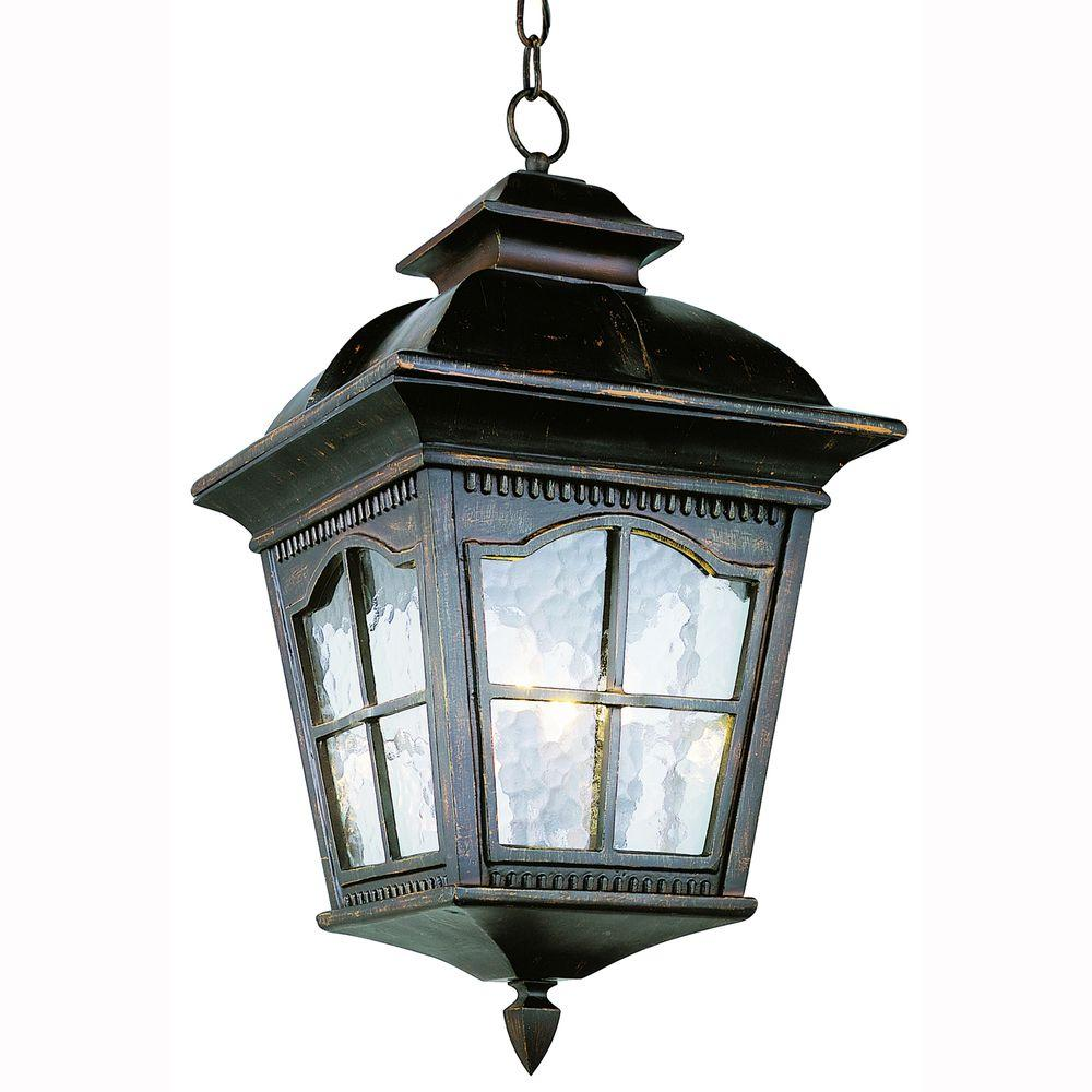 Bostonian 3-Light Outdoor Antique Rust Hanging Lantern with Water Glass