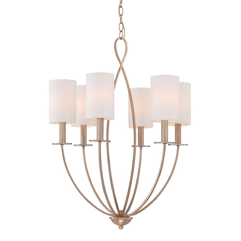 Eurofase Castana Collection 6 Light Gold Chandelier With Fabric Shade