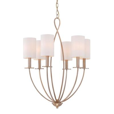 Castana Collection 6-Light Gold Chandelier with Fabric Shade