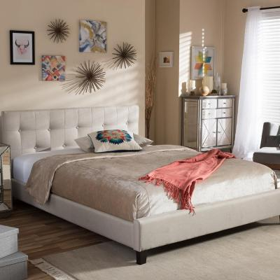 Annette Beige Queen Upholstered Bed