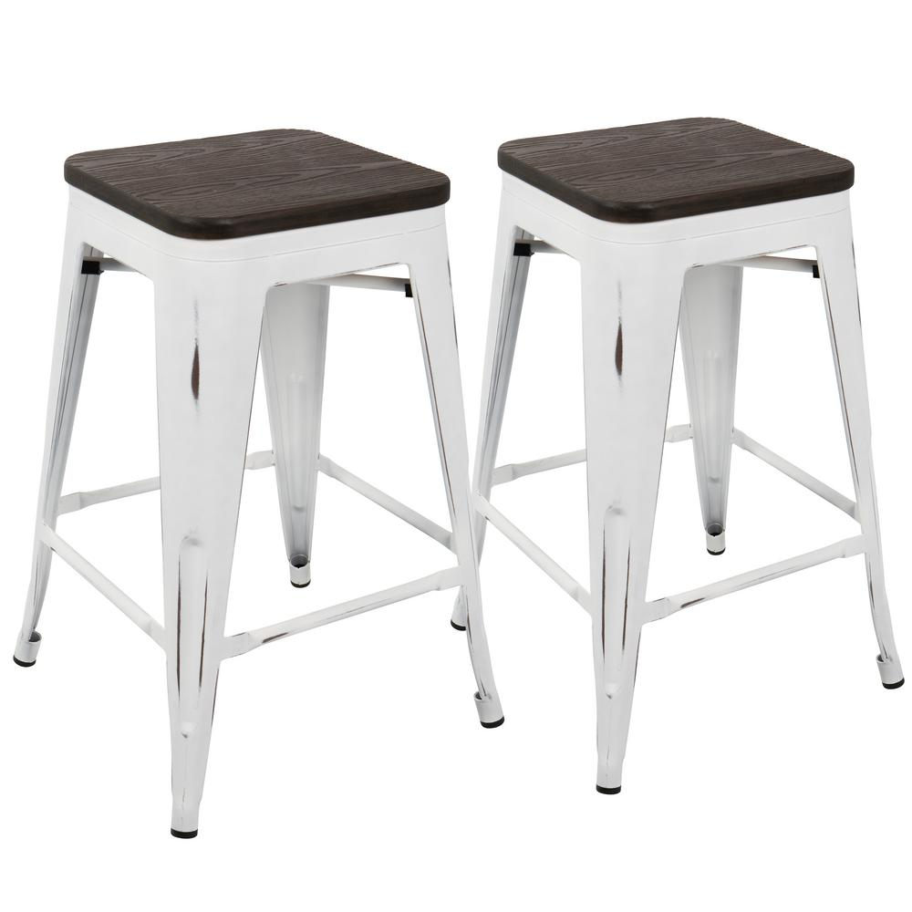 Lumisource Oregon 24 In Vintage White And Espresso Counter Stool