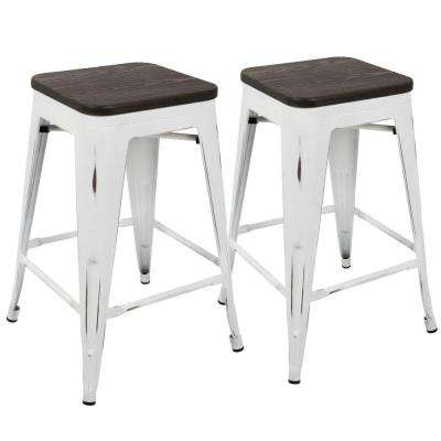 Oregon 24 in. Vintage White and Espresso Counter Stool (Set of 2)