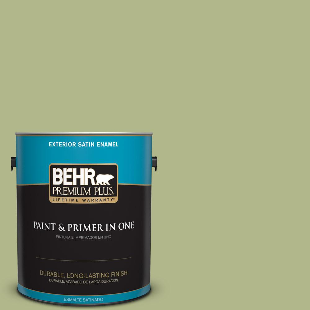 1-gal. #M350-4 Sweet Grass Satin Enamel Exterior Paint