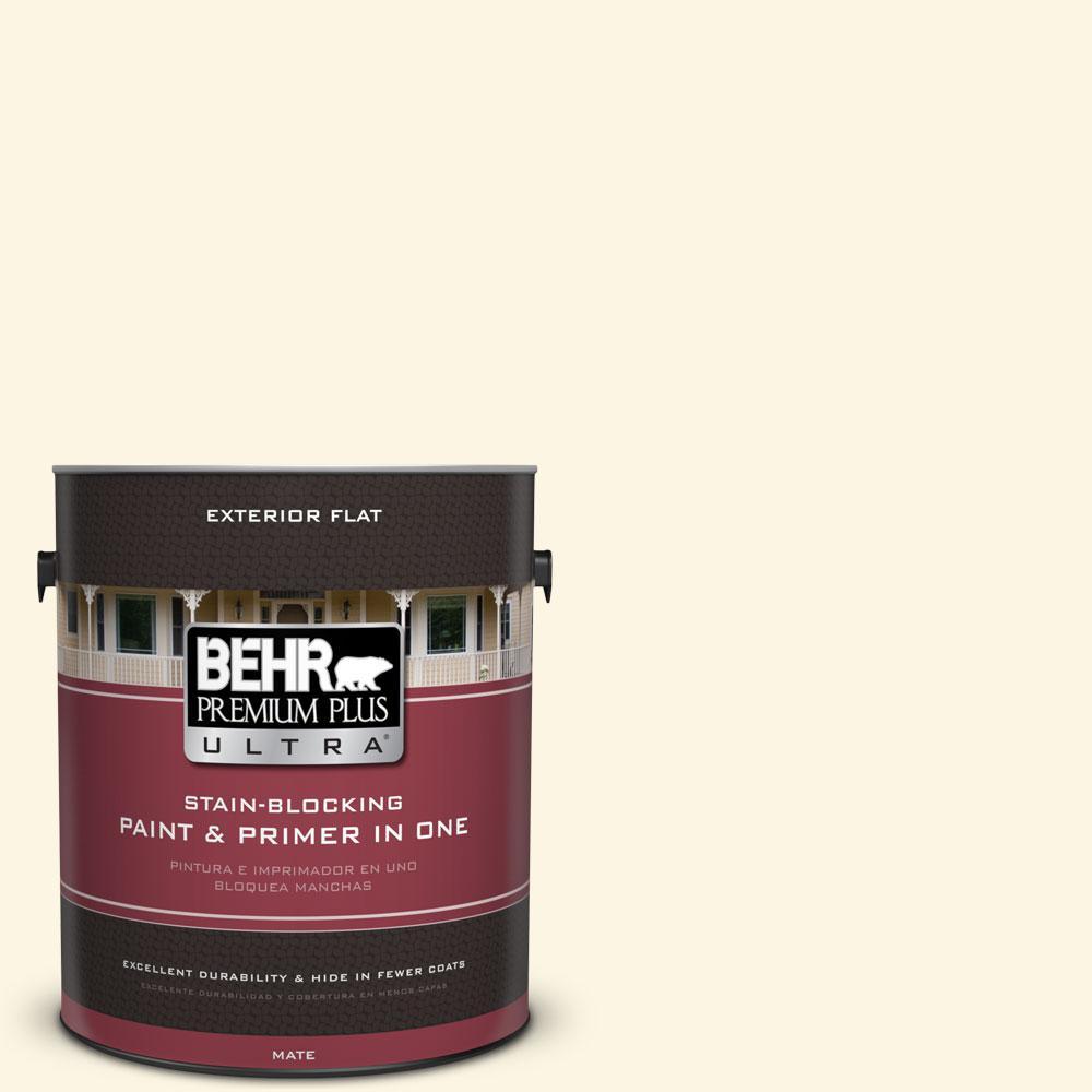 BEHR Premium Plus Ultra 1-gal. #P300-1 Lemon White Flat Exterior Paint