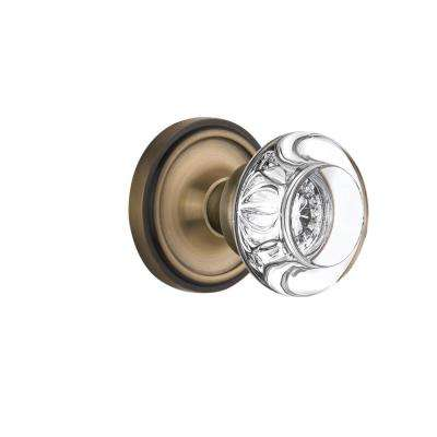 Classic Rosette 2-3/4 in. Backset Antique Brass Privacy Round Clear Crystal Glass Door Knob