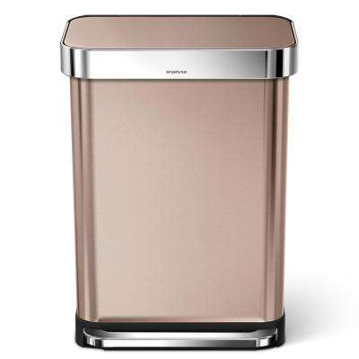 14.52 Gal. Rose Gold Stainless Steel Rectangular Liner Rim Step Can