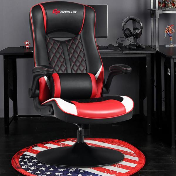 Costway Red Pvc Rocking Gaming Chair Rocker Racing Style Computer Office Chair 360 Swivel Hw65242re The Home Depot