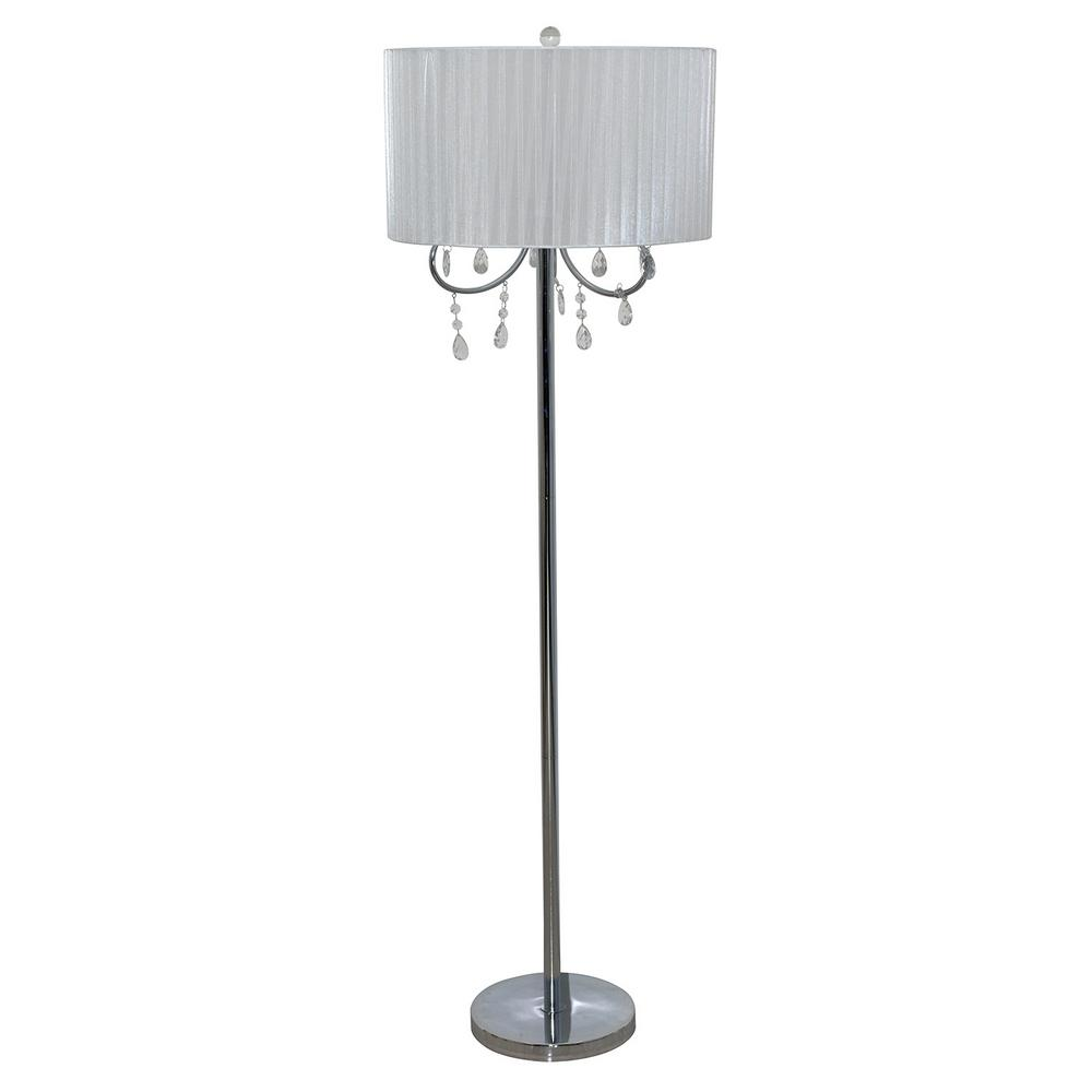 58 in. Chrome Floor Lamp with White Chandelier Style Shade