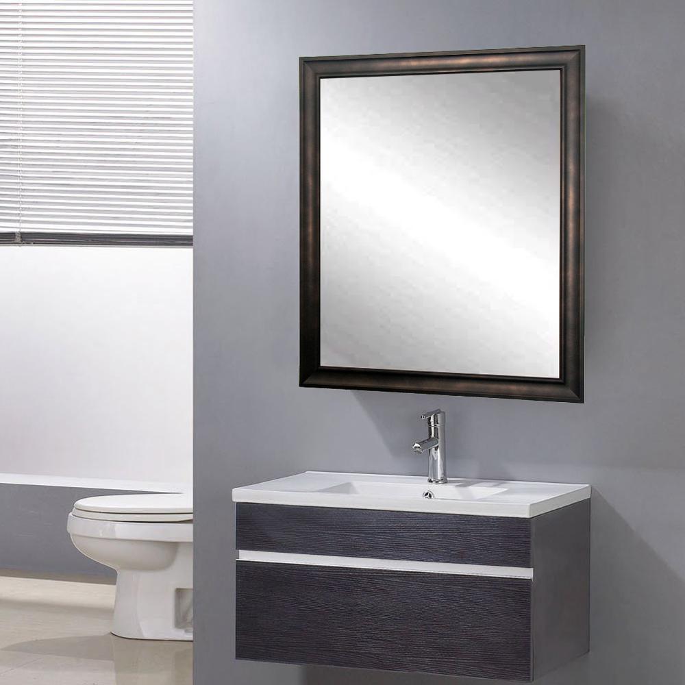 New 20 in. W x 30 in. H Framed Rectangular Bathroom Vanity Mirror in Brown/Bronze