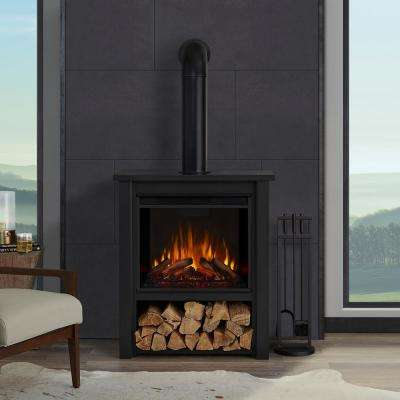 Hollis 32 in. Freestanding Electric Fireplace in Black
