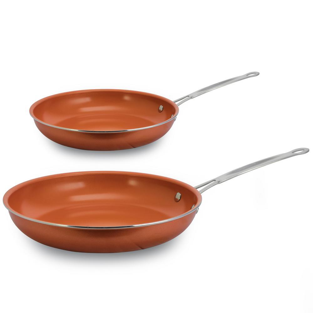 2-Piece Aluminum Ceramic Nonstick Frying Pan Set in Copper