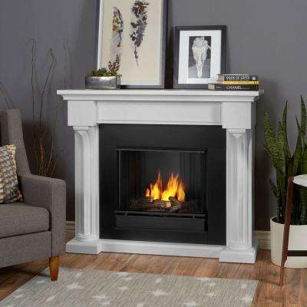Verona 48 in. Ventless Gel Fireplace in White