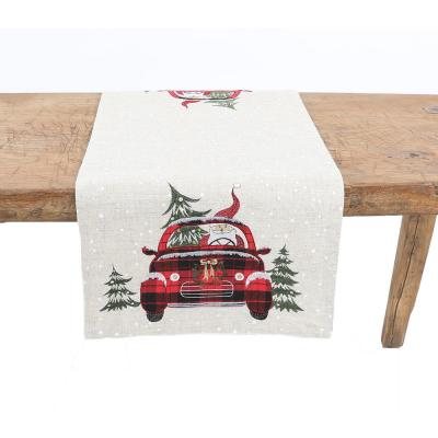 15 in. x 90 in. Santa Claus Riding On Car Christmas Table Runner, Natural