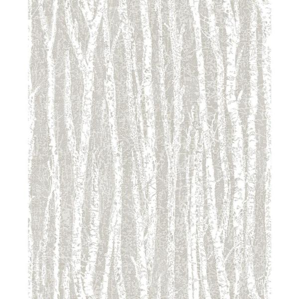 Advantage 56.4 sq. ft. Toyon Taupe Birch Tree Wallpaper