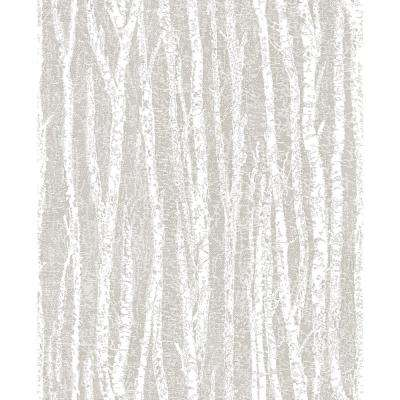 8 in. x 10 in. Toyon Taupe Birch Tree Wallpaper Sample