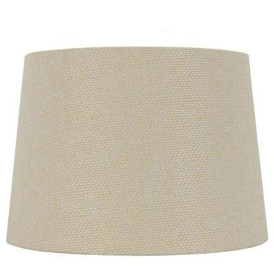 Mix and Match 14 in. Dia x 10 in. H Cream Woven Texture Round Table Lamp Shade
