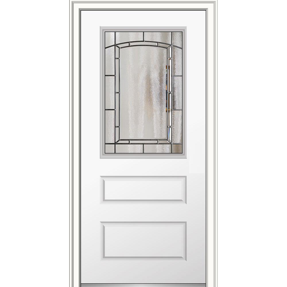 36 in. x 80 in. Solstice Right-Hand 1/2-Lite 2 Horizontal Panel Primed Fiberglass Smooth Prehung Front Door